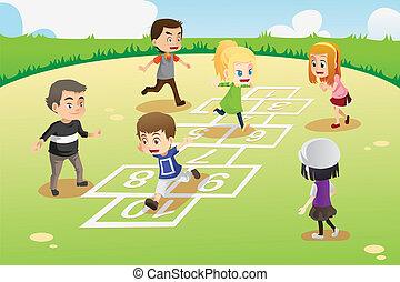 kinder, spielende , hopscotch