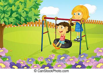 kinder, spielende , schwingen, in, kleingarten