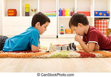 kinder, spielenden schach