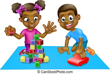 kinder, spielzeuge, spielende