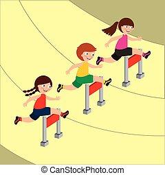 kinder, sport, aktivität, bild