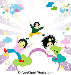 kinder, springende