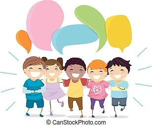 kinder, stickman, abbildung, vortrag halten , lachender, blasen