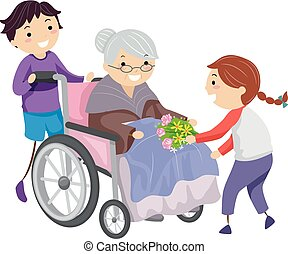 kinder, stickman, krankenpflege, abbildung, daheim, freiwilligenarbeit