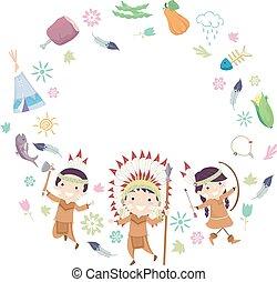 kinder, stickman, rahmen, abbildung, indische , kreis