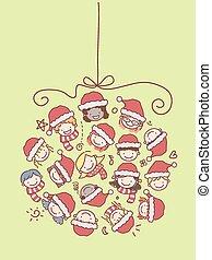 kinder, stickman, weihnachtskugel