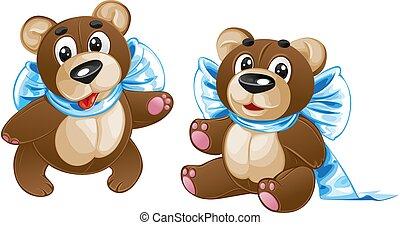 kinder, stofftier, -, reizend, teddybär, mit, a, schleife, in, verschieden, posen