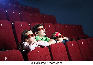 kinder, theater, aufpassender film, aufgeregt, karikatur, 3d