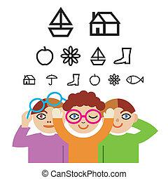 kinder, und, optometrie, pr�fung