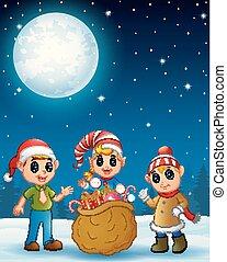 kinder, weihnachtshelfer, sack, geschenke, voll, weihnachtsgeschenk