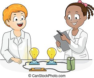 kinder, wissenschaft, physik, versuch, abbildung