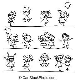 kinder, zeichnung, hand, glücklich
