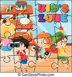 kinder zimmer, puzzel, stichsaege, spiel, spielende