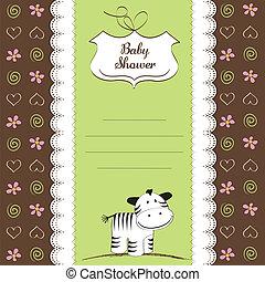 kinderachtig, begroetende kaart, zebra