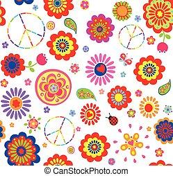 kinderachtig, behang, hippie, kleurrijke