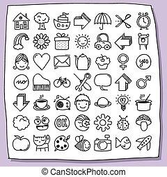 kinderachtig, doodle, pictogram, set