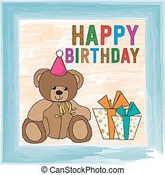 kinderachtig, verjaardag kaart, beer, teddy