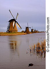 Kinderdijk Windmills in the Netherlands, Holland. - A...