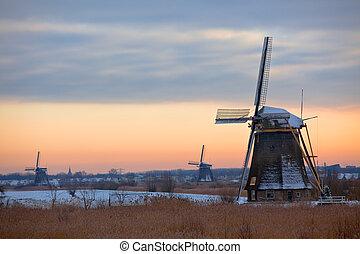 Kinderdijk Windmills in Winter