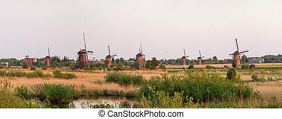 Kinderdijk windmills panorama