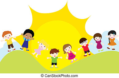kinderen, achtergrond, vrolijke
