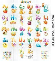 kinderen, alfabet, gekke , afbeeldingen