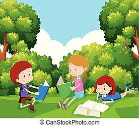 kinderen, boek, boompje, lezende , onder