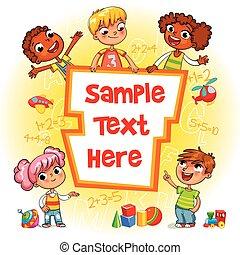 kinderen, boek, cover., geitje, richtend bij, een, leeg, mal