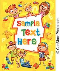 kinderen, boek, cover., mal, voor, reclame, informatieboekje