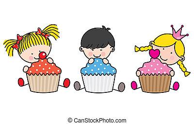 kinderen, cupcakes., gekleurde