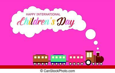 kinderen, dag, met, trein, stijl, spandoek