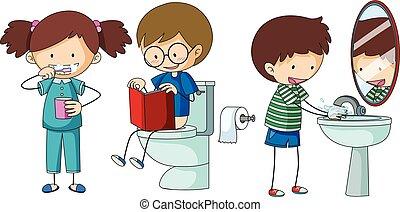 kinderen, doen, anders, routine, in, badkamer