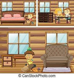 kinderen, doen, spullen, in, anders, kamers