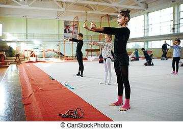 kinderen, doen, stand, opwarm, gymnastiek