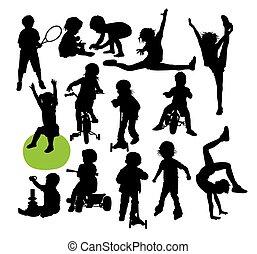 kinderen, en, geitje, vrolijke , activiteit, silhouettes