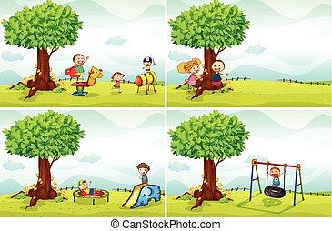 kinderen, en, park