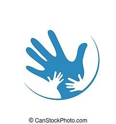 kinderen, en, vader, handen samen