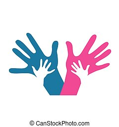 kinderen, en, volwassenen, handen samen