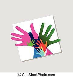 kinderen, en, volwassenen, handen samen, nee, transparantieen