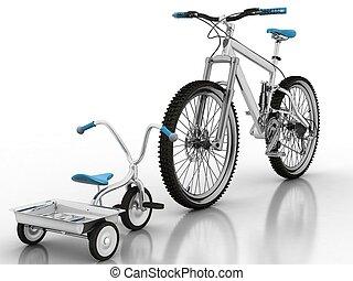 kinderen, fiets, tegen, een, sportende