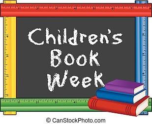 kinderen, frame, boek, week, meetlatje
