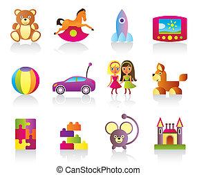 kinderen, gevarieerd, speelgoed