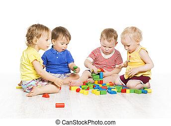 kinderen, groep, spelend, speelbal, blocks., weinig; niet zo(veel), geitjes, vroeg, ontwikkeling