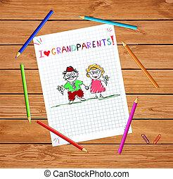 kinderen, hand, getrokken, begroetende kaart, met, opa, en, oma, samen.