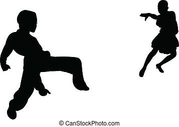 kinderen, hartstocht, twee, tango, dansers