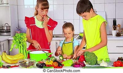 kinderen, het koken, op, kitchen.