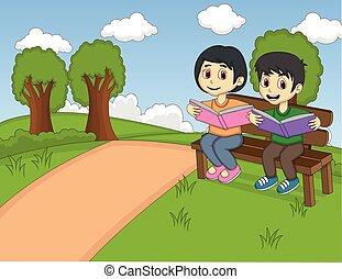 kinderen, het lezen van een boek, in het park
