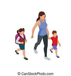 kinderen, hun, schoolchildren., isometric, school., ouders, back