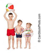 kinderen, in, badkleding