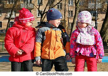 kinderen, in, kleuterschool